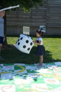 Jenny plays our GIANT board games